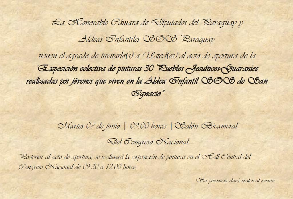 Invitación exposición de cuadros de jovenes de Aldeas